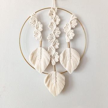 Makrama PIÓRKA liście łapacz dekoracja boho glam