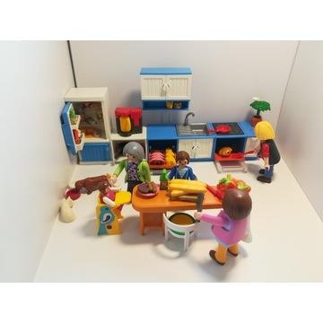 Playmobil zestaw kuchnia dodatki figurki dom pies