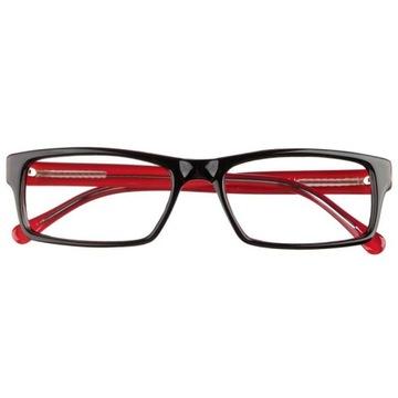 Okulary korekcyjne męskie wg recepty, czarnoczerw.