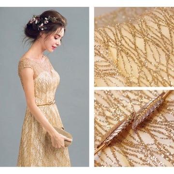Złota długa cekinowa sukienka