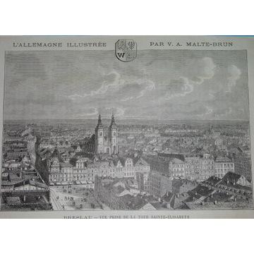 1885 oryginał WROCŁAW BRESLAU panorama Śląsk herb