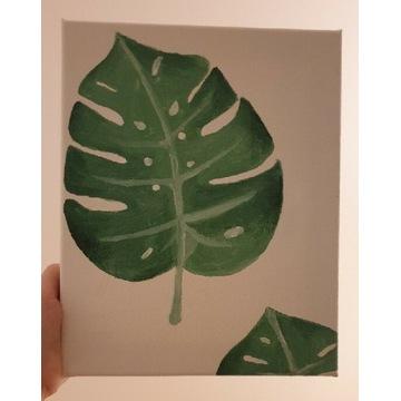Obraz liść monstery na płótnie farba akrylowa