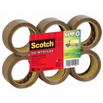 Taśma pakowa brązowa Scotch 371 3M 6szt