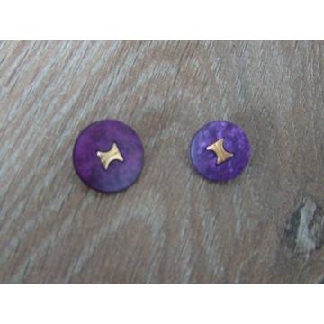 Fioletowe guziki ze złotym środkiem 15mm- 2 sztuki