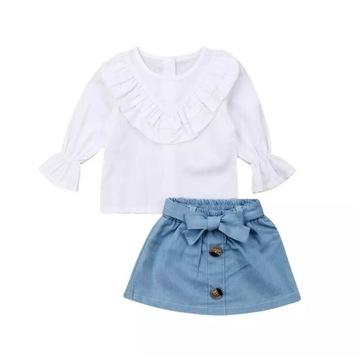 Komplet dla dziewczynki koszula i spódniczka 80 cm