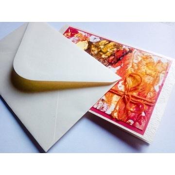 Jesienna Kartka  Liście Ręcznie Malowana Abstract