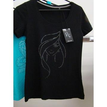 T-shirt damski czarny S~~ dżety cyrkonie