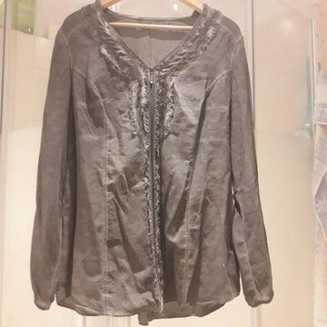 bluzka damska używana szara popiel srebrna - zamek