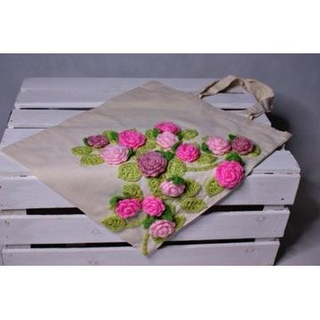 Torba zakupowa z aplikacją. Torba handmade. Róże.