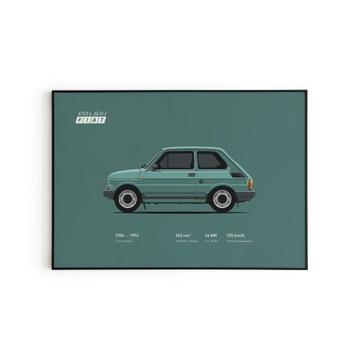 Plakat w SOLIDNEJ ramie MALUCH FIAT 126p FL 60x80