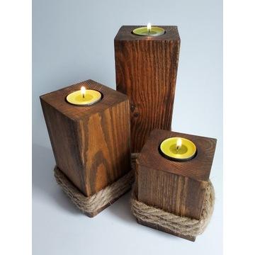 Świecznik drewniany 3 szt na Tealighty