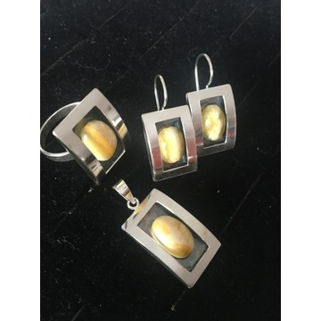 Biżuteria - komplet z bursztynem -srebro 925