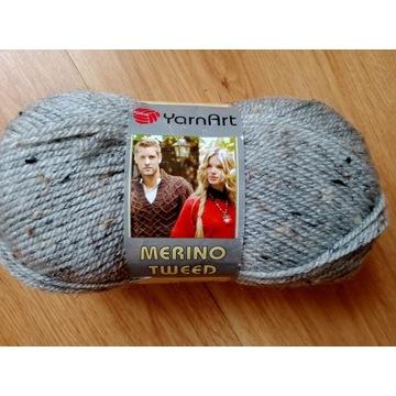 Włóczka Merino Tweed 46% wełny 100g jasnoszara