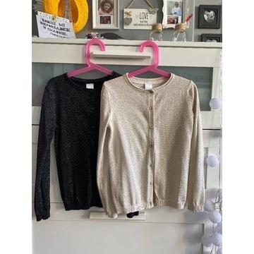 Sweterek 128 C&A czarny ze srebrną nitką
