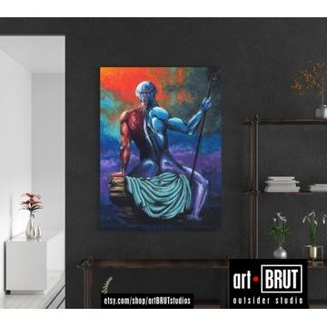 Poseidon -  oryginalny obraz akrylowy