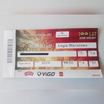 Bilet Widzew Łódź - Legia Warszawa z 15.10.2010 r.