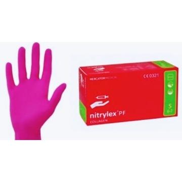 Rękawiczki nitrylowe Różowe kolagenowe 100 sztuk S