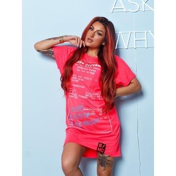Sukienka Tunika Bluzka MISS CITY neon róż