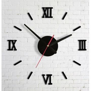 Zegar ŚciennyCzarny 4 cyfry rzymskie Samoprzylepny