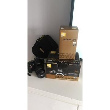 Lustrzanka Nikon D3200 dwa obiektywy