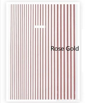 Naklejki paski różowe złoto na paznokcie ozdoby