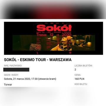 2 bilety na Sokół płyta 21/03 Warszawa