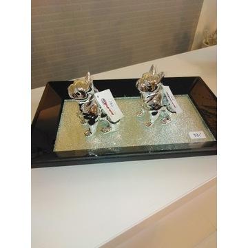Taca dekoracyjna  szklana z cyrkoniami