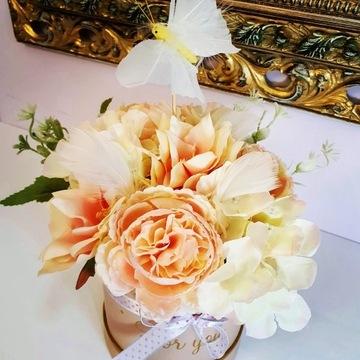 Flower box, stroik ślubny, piwonie, peonie