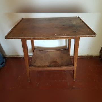 Stolik drewniany pod radio PRL do renowacji