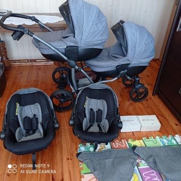 Wózek bliźniaczy Bebetto 42 jeden za drugim