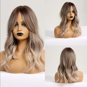 Piękna peruka, srebrny blond grzywka curtain bangs