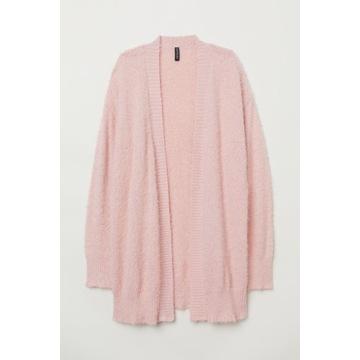 Puszysty kardigan sweter różowy H&M L 40