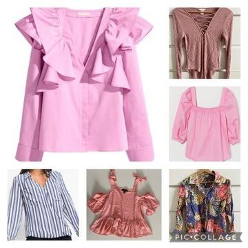 16 sztuk bluzek, koszul, body paczka ubrań M/L