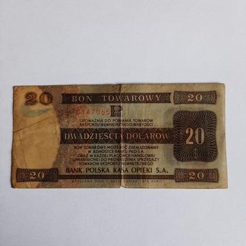 Bon Towarowy Pekao 20 Dolarow stemplowany 1979r