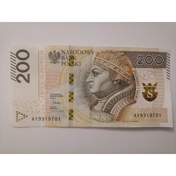 200 złotych 2015 seria AY