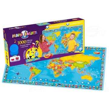 Interaktywna Mapa, zabawka edukacyjna, mapa świata