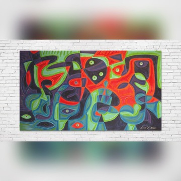 Duży obraz ręcznie malowany, abstrakcja, A.Sandaal