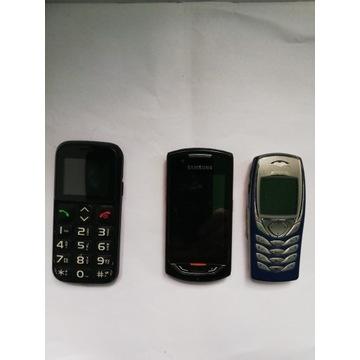 Trzy zepsute telefony na części Samsung Nokia