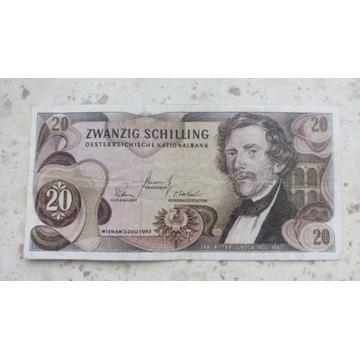 BANKNOT 20 SCHILING 1967R.(AUSTRIA)