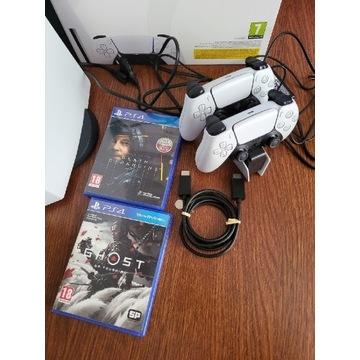 Playstation 5 + 2xPad + ładowarka, pudełko, gwar.