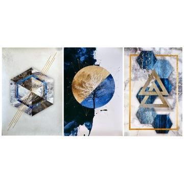 Figury geometryczne - tryptyk, grafika