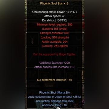 MU Online Midgard Phoenix Set+2x Glovki 13+16+s+L
