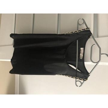 Koszulka czarna elegancka bokserka m/l