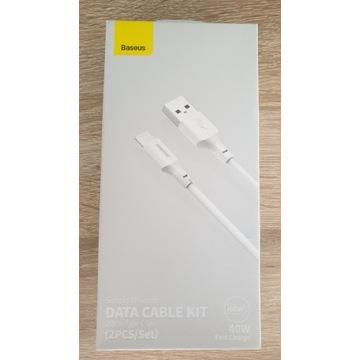 Kabel Baseus 5A USB Type-C 1.5m. 2szt.