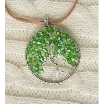 Wisiorek naszyjnik drzewo kryształki