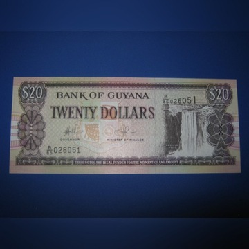 GUYANA- 20 dollars  , UNC