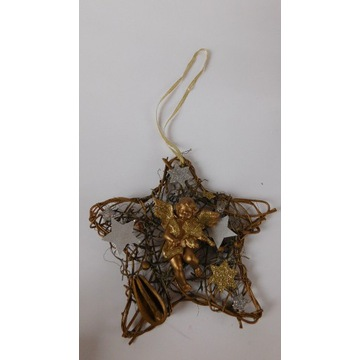 Stroik złota gwiazda betlejemska aniołek wiklina