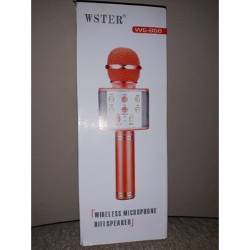 Mikrofon karaoke bezprzewodowy WSTER srebrny WS858