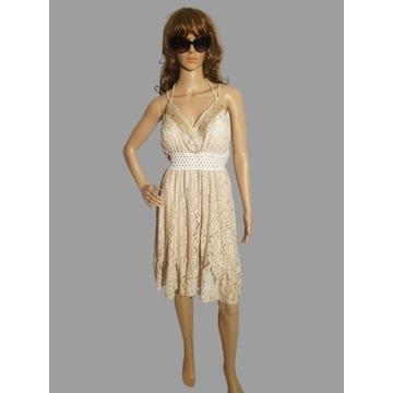 Sukienka koronkowa/trzy kolory/ręcznie zdobiona