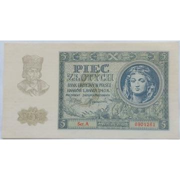 5 złotych 1940 seria A